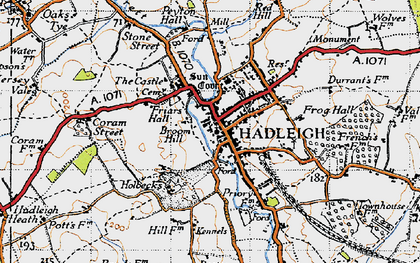 Old map of Hadleigh in 1946