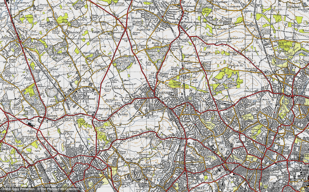 Old Map of Historic Map covering Barnet in 1946