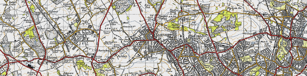 Old map of Hadley in 1946