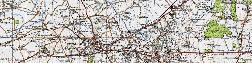 Old map of Hadley in 1947