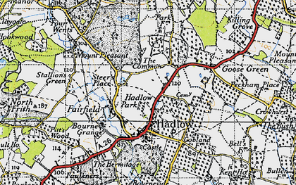 Old map of Hadlow in 1946