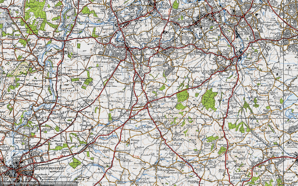 Old Map of Historic Map covering Wychbury in 1947