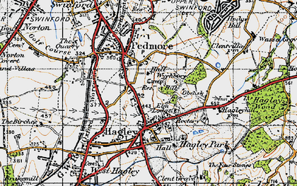 Old map of Wychbury Hill in 1947