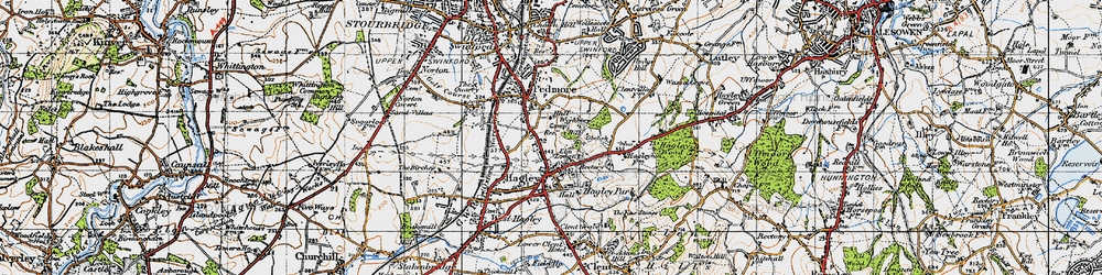 Old map of Wychbury in 1947