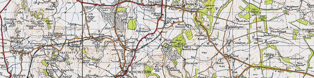 Old map of Hailes in 1946