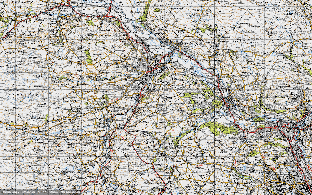 Old Map of Historic Map covering Back Shaw in 1947