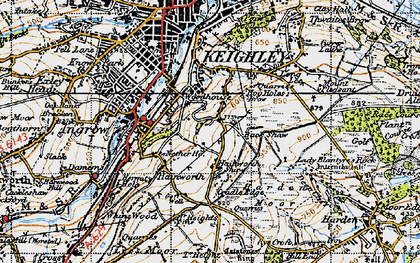 Old map of Back Shaw in 1947