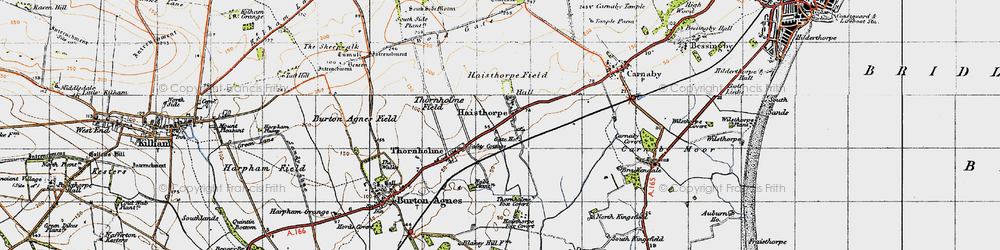 Old map of Wold Gate in 1947