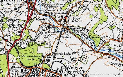 Old map of Haldens in 1946