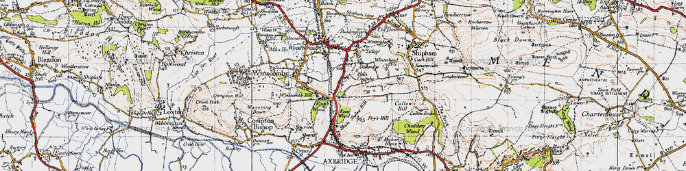 Old map of Winterhead Hill in 1946