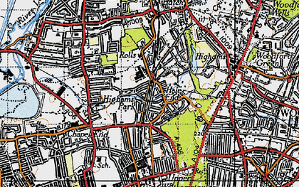 Old map of Hale End in 1946