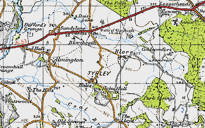 Old map of Hales in 1946