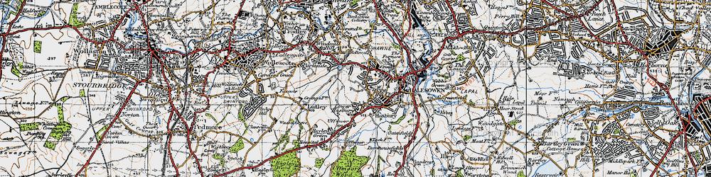 Old map of Halesowen in 1947