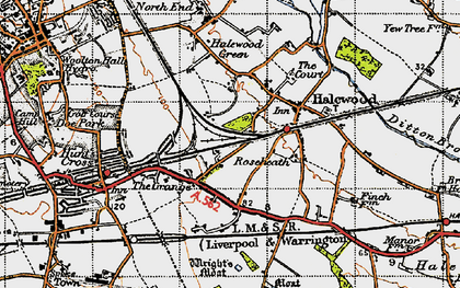 Old map of Halewood in 1947