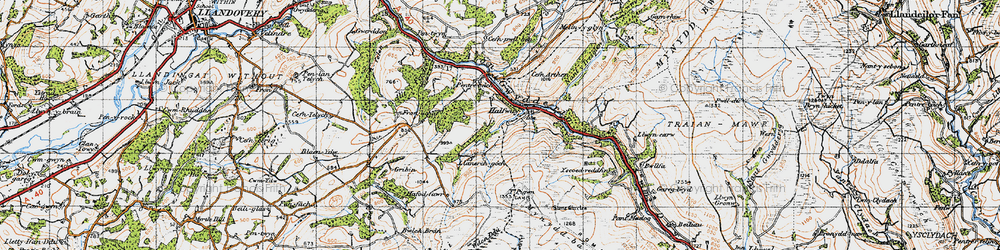 Old map of Y Pigwn (Roman Camps) in 1947