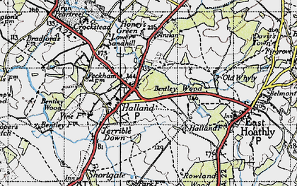 Old map of Halland in 1940