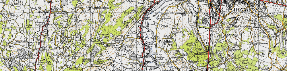 Old map of Halling in 1946
