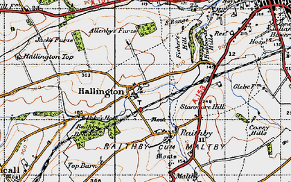 Old map of Allenby's Furze in 1946