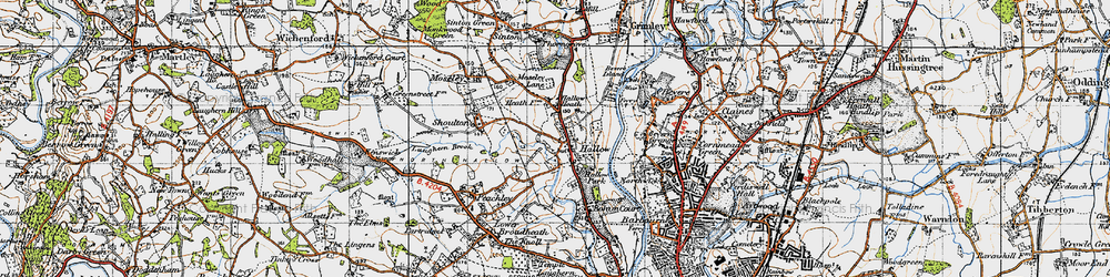Old map of Hallow in 1947