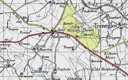 Old map of Hallworthy in 1946