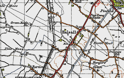 Old map of Halsall in 1947