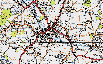 Old map of Halstead in 1945