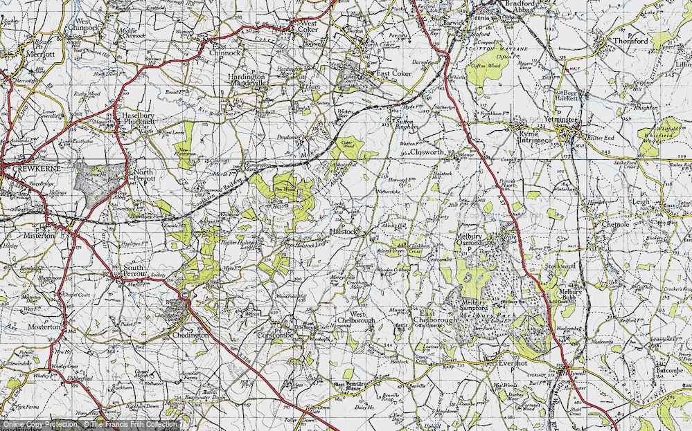 Old Map of Halstock, 1945 in 1945