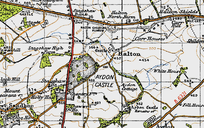 Old map of Whittington Fell in 1947