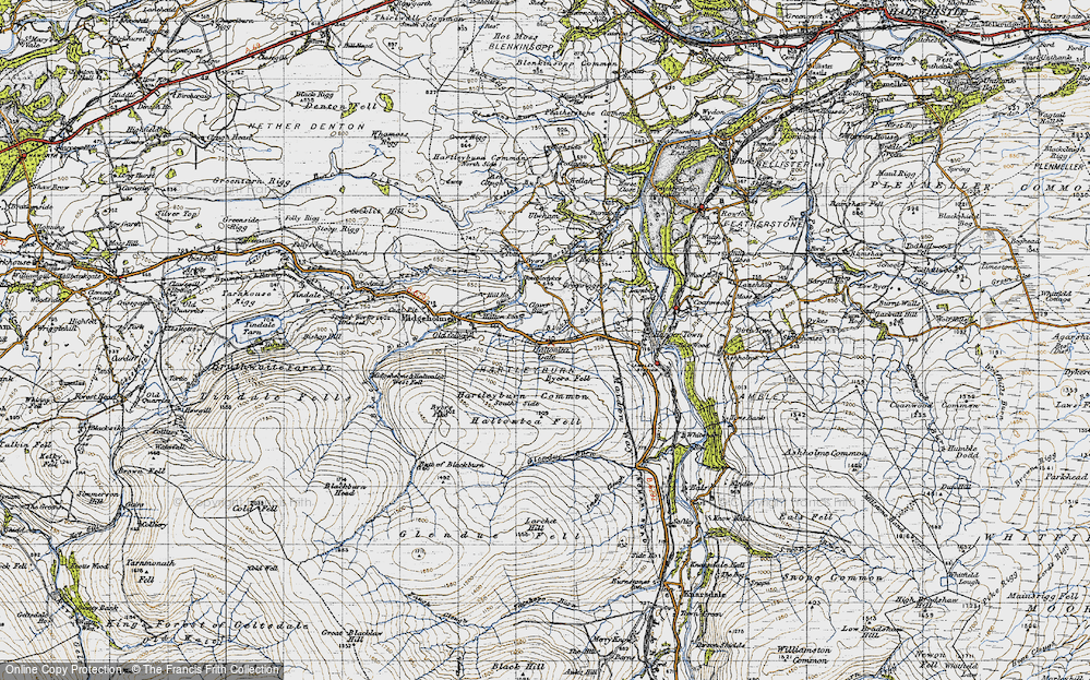 Old Map of Historic Map covering Ash Cleugh in 1947