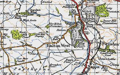 Old map of Halton West in 1947