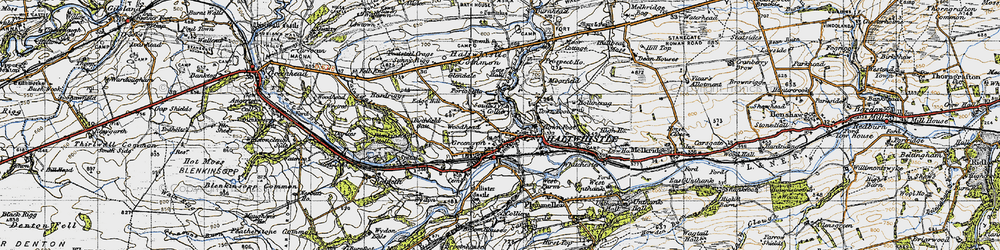 Old map of Aesica (Roman Fort) in 1947