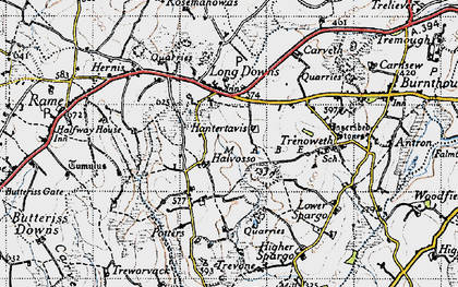Old map of Halvosso in 1946