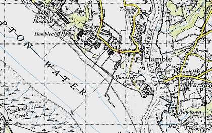 Old map of Hamble-le-Rice in 1945