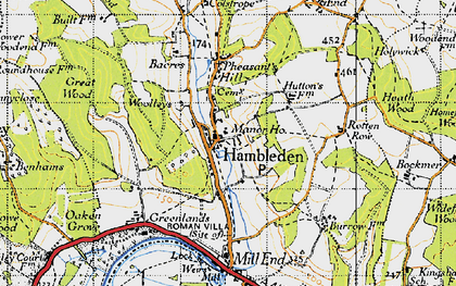 Old map of Hambleden in 1947