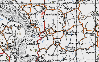 Old map of Hambleton in 1947
