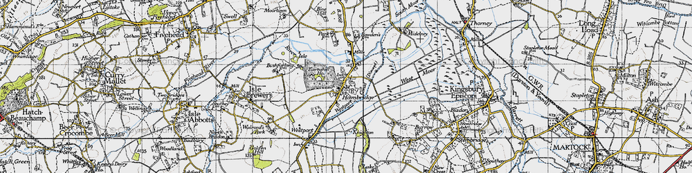 Old map of Hambridge in 1945