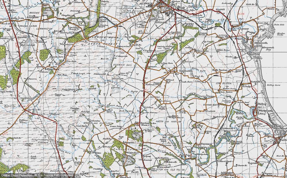 Old Map of Historic Map covering Whittle Colliery in 1947