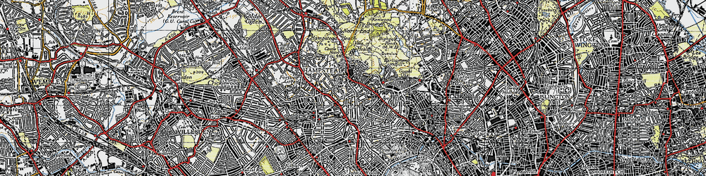 Old map of Hampstead in 1945