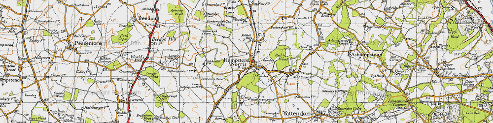 Old map of Hampstead Norreys in 1947