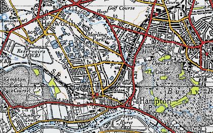 Old map of Hampton in 1945