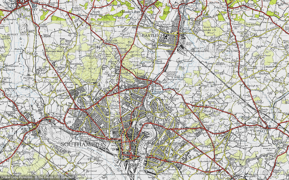 Old Map of Historic Map covering Woodmill in 1945