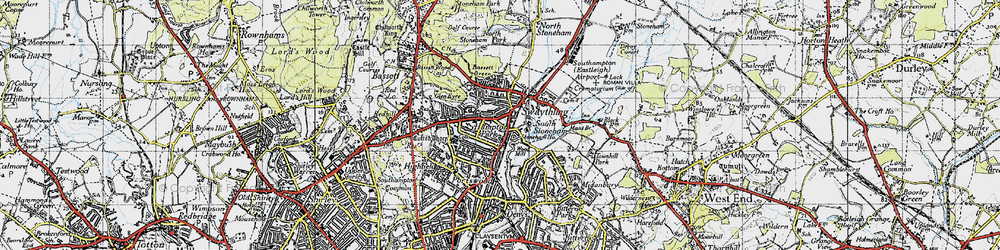 Old map of Woodmill in 1945