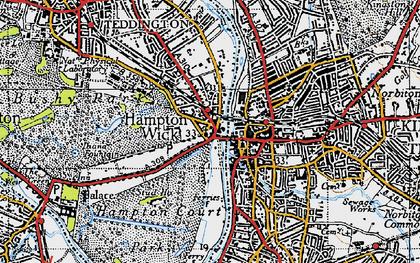 Old map of Hampton Wick in 1945