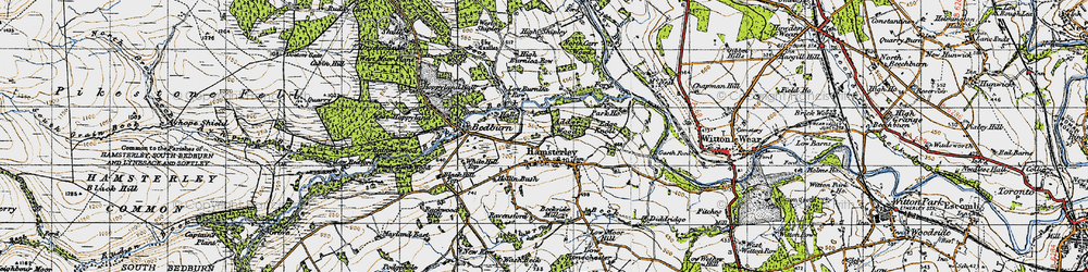 Old map of Hamsterley in 1947