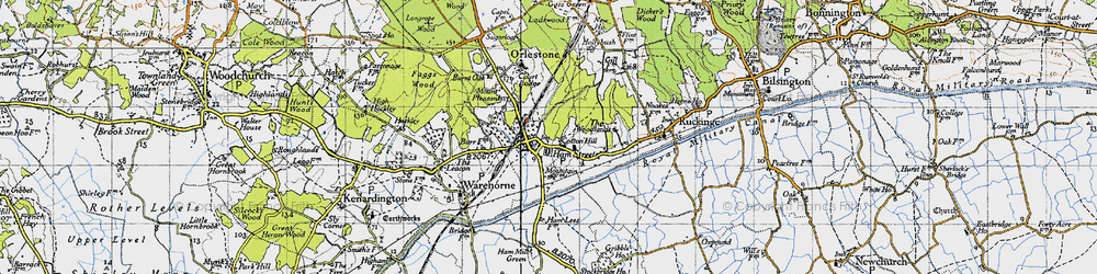 Old map of Hamstreet in 1940