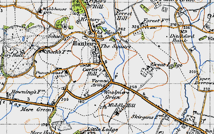 Old map of Hanbury in 1947