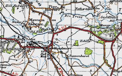 Old map of Handsacre in 1946