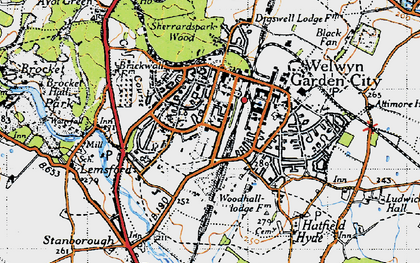 Old map of Handside in 1946