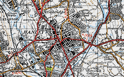 Old map of Hanley in 1946