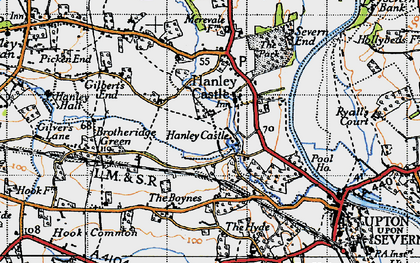 Old map of Hanley Castle in 1947